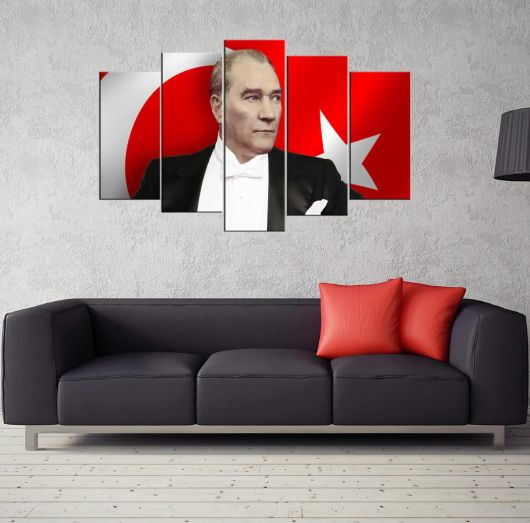 Mustafa Kemal Atatürk Turkish Flag 5 Piece Mdf Painting - Thumbnail
