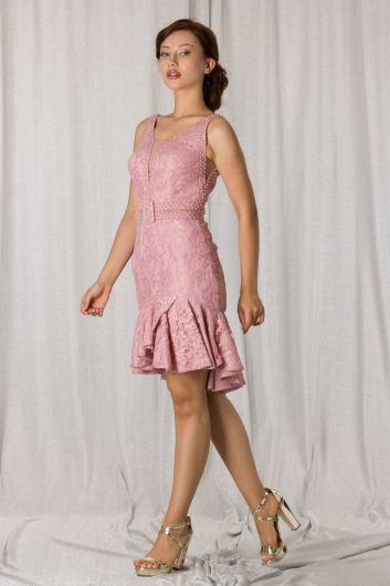 shecca - Short Pink Lace Evening Dress With Frilly Skirt (1)