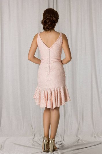 shecca - Short Powder Lace Evening Dress With Frilly Skirt (1)