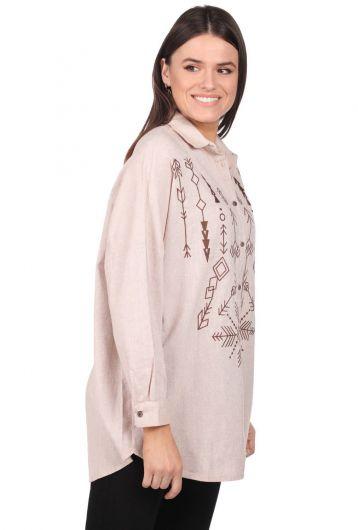 MARKAPIA WOMAN - Nakışlı Oversize Kadın Desenli Gömlek (1)