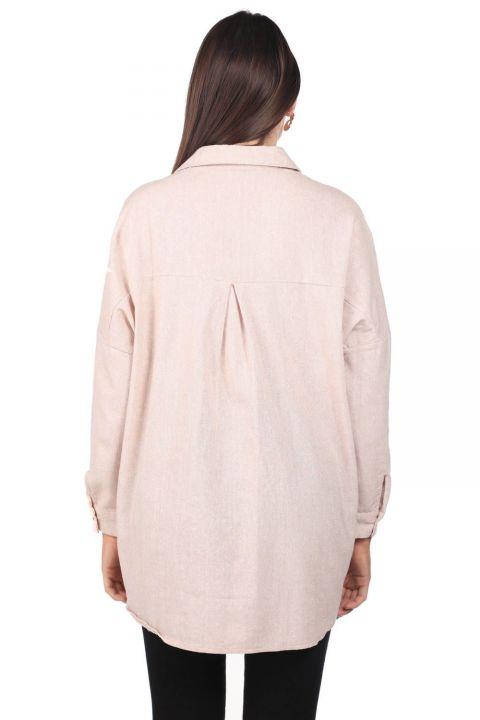 Nakışlı Oversize Kadın Desenli Gömlek