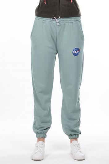Nasa Printed Elastic Green Women's Sweatpants - Thumbnail
