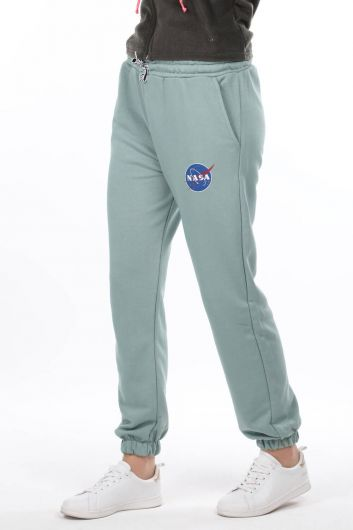 MARKAPIA WOMAN - Nasa Printed Elastic Green Women's Sweatpants (1)