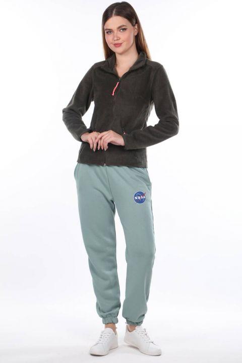 Nasa Printed Elastic Green Women's Sweatpants