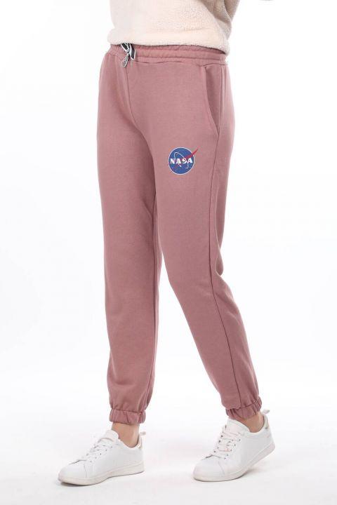 بدلة رياضية نسائية مطبوعة باللون الوردي المرن من ناسا