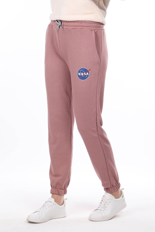 Розовый женский спортивный костюм на резинке с принтом Nasa
