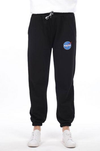 Эластичные черные женские спортивные штаны с принтом Nasa - Thumbnail