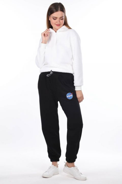 Эластичные черные женские спортивные штаны с принтом Nasa