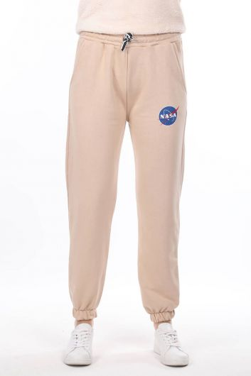 Nasa Printed Rubberized Beige Women's Trousers - Thumbnail