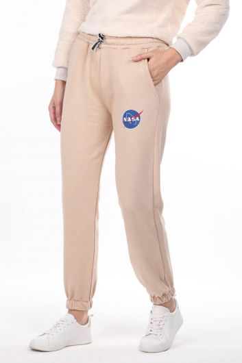 MARKAPIA WOMAN - Nasa Printed Rubberized Beige Women's Trousers (1)