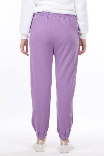Сиреневые эластичные женские спортивные штаны с принтом Nasa - Thumbnail