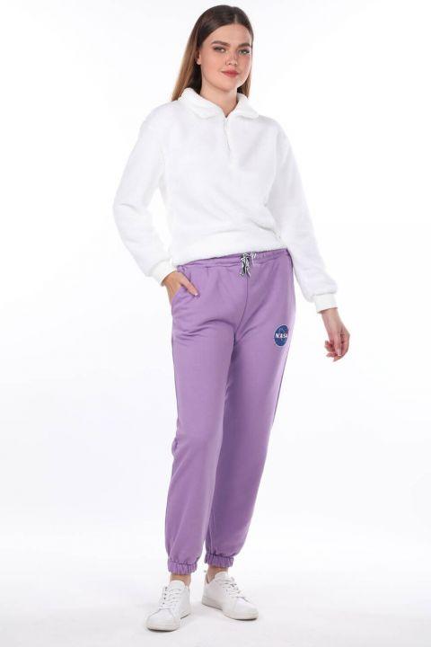 Сиреневые эластичные женские спортивные штаны с принтом Nasa