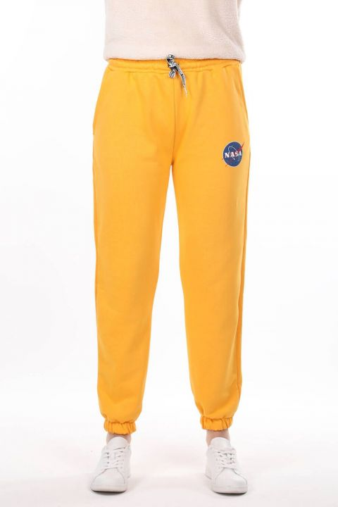 Nasa Printed Rubberized Yellow Women's Sweatpants