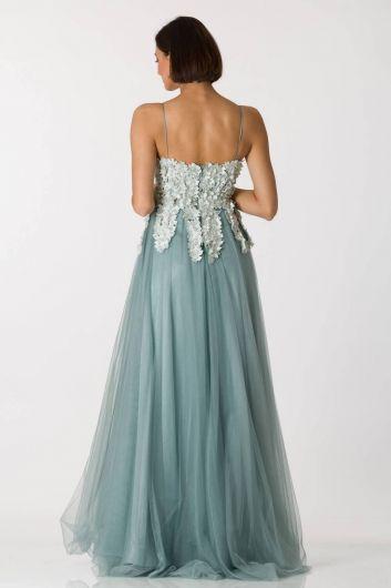 فستان سهرة طويل من التول أخضر رقيق للأعمار - Thumbnail