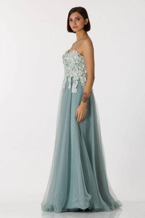 فستان سهرة طويل من التول أخضر رقيق للأعمار
