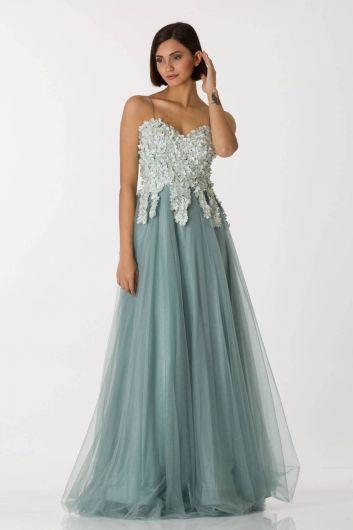 shecca - Зеленое длинное вечернее платье из тюля с тонкими бретелями (1)
