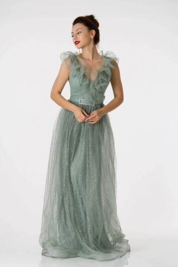 Long Silvery Emerald Evening Dress with Frilly Shoulders - Thumbnail