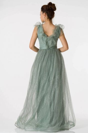Shecca By Dayi - Long Silvery Emerald Evening Dress with Frilly Shoulders (1)