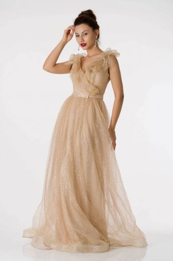 Silvery Beige Long Evening Dress With Frilly Shoulder - Thumbnail