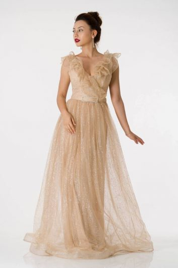 Shecca By Dayi - Silvery Beige Long Evening Dress With Frilly Shoulders (1)