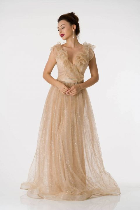 Silvery Beige Long Evening Dress With Frilly Shoulder