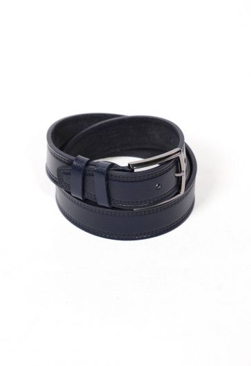 Navy Blue Men's Genuine Leather Belt - Thumbnail