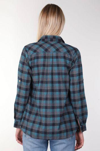 Navy Blue Plaid Women Shirt - Thumbnail