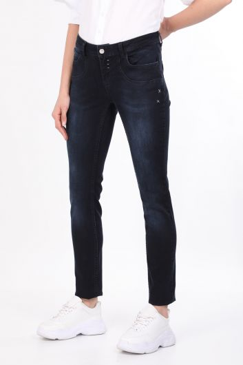 Navy Blue Pocket Detailed Women's Jean Trousers - Thumbnail