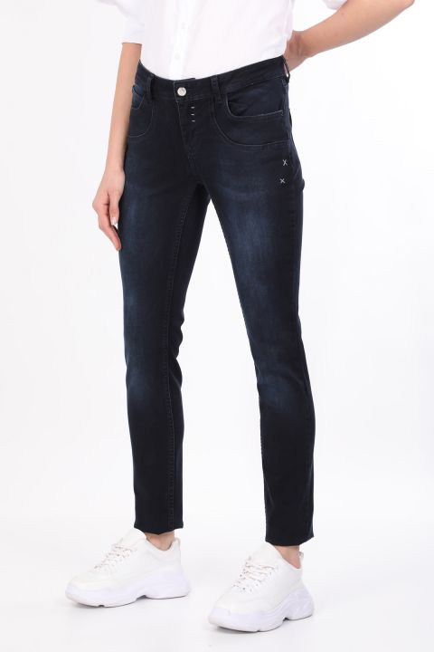 Navy Blue Pocket Detailed Women's Jean Trousers