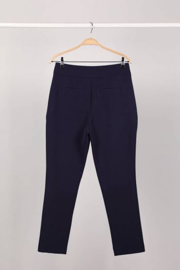 MARKAPIA WOMAN - Navy Blue Women's Fabric Trousers (1)