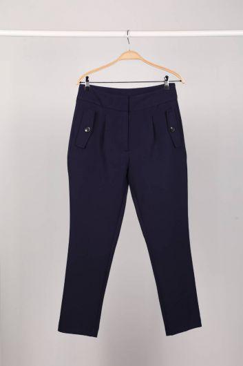 Темно-синие женские брюки из ткани - Thumbnail