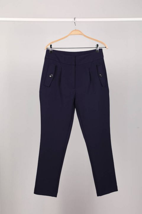 Темно-синие женские брюки из ткани