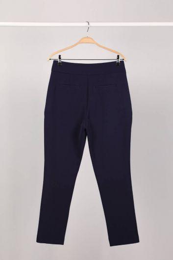 MARKAPIA WOMAN - Темно-синие женские брюки из ткани (1)