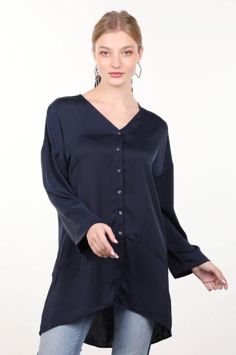 قميص المرأة الساتان الأزرق الداكن