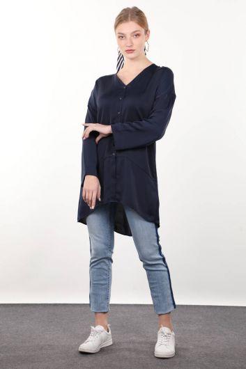 قميص المرأة الساتان الأزرق الداكن - Thumbnail