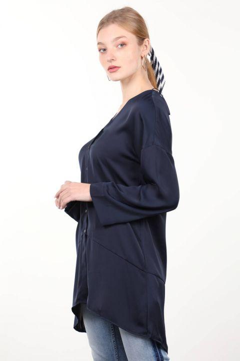 Navy Blue Satin Women's Shirt