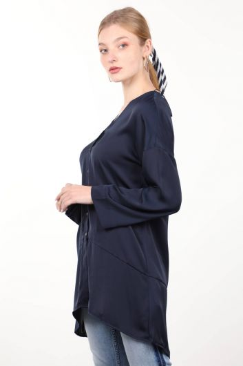 MARKAPIA WOMAN - Темно-синяя атласная женская рубашка (1)