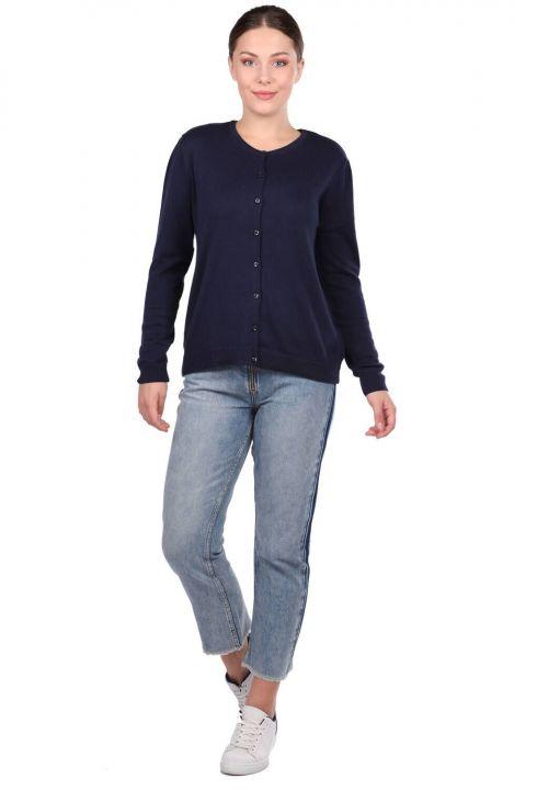 Navy Buttoned Short Women's Knitwear Cardigan