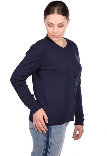Navy Buttoned Short Women's Knitwear Cardigan - Thumbnail