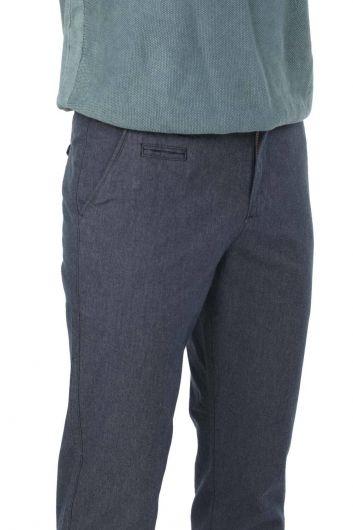 Темно-синие мужские брюки чинос свободного покроя - Thumbnail