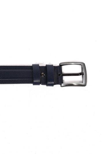 MARKAPIA MAN - حزام جلد طبيعي مزخرف باللون الأزرق الداكن للرجال (1)