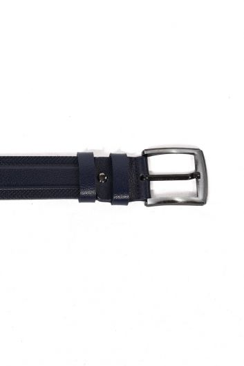 MARKAPIA MAN - Navy Blue Embroidered Patterned Men's Genuine Leather Belt (1)