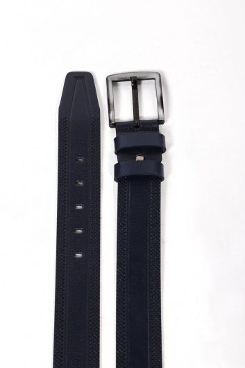 Navy Blue Embroidered Patterned Men's Genuine Leather Belt - Thumbnail
