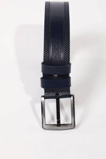 Темно-синий мужской ремень из натуральной кожи с вышивкой и узором - Thumbnail