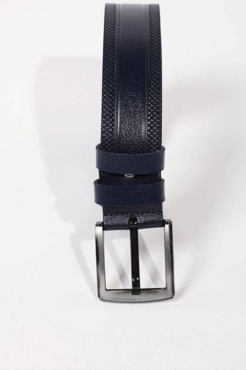 Темно-синий мужской ремень из натуральной кожи с вышивкой и узором