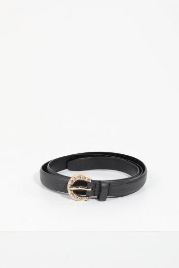 Women's Navy Blue Gold Buckled Leather Belt - Thumbnail