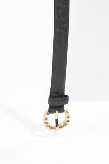 MARKAPIA - Women's Navy Blue Gold Buckled Leather Belt (1)
