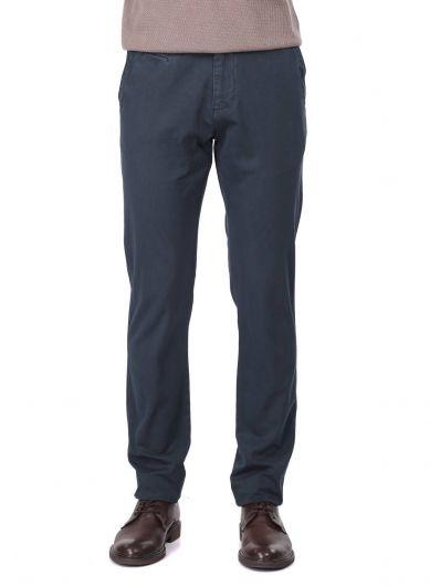 Темно-синие мужские брюки чинос повседневного кроя - Thumbnail