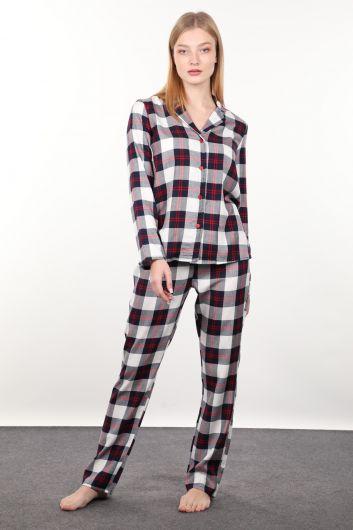 Navy Blue Red Plaid Women's Pajamas Set - Thumbnail