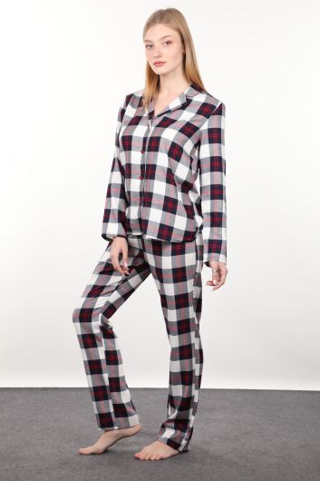 MARKAPIA WOMAN - Женский пижамный комплект в темно-синюю и красную клетку (1)